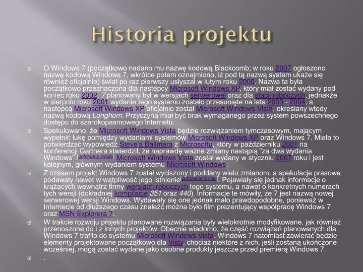Historia projektu