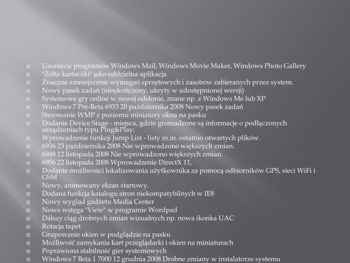 Usunięcie programów Windows Mail, Windows Movie Maker, Windows Photo Gallery