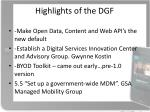 highlights of the dgf