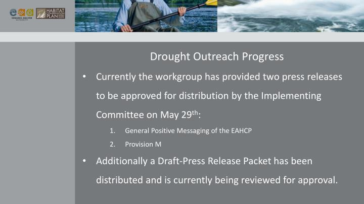Drought Outreach Progress
