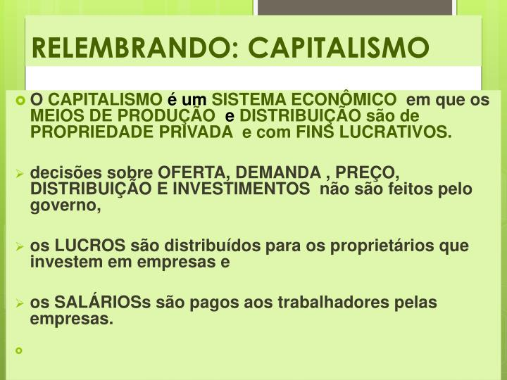 RELEMBRANDO: CAPITALISMO