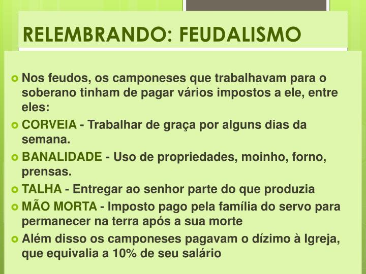 RELEMBRANDO: FEUDALISMO
