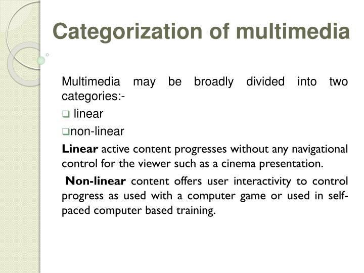 Categorization of multimedia