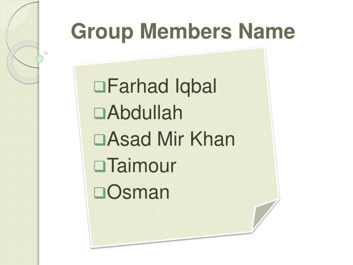 Group members name