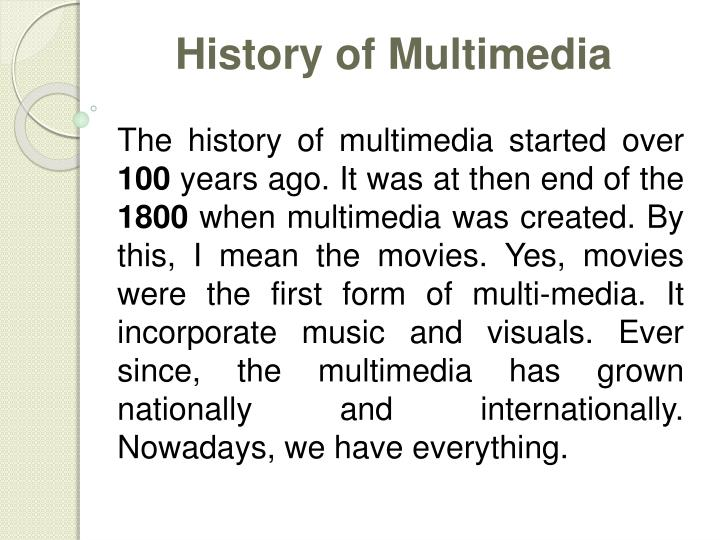 History of Multimedia