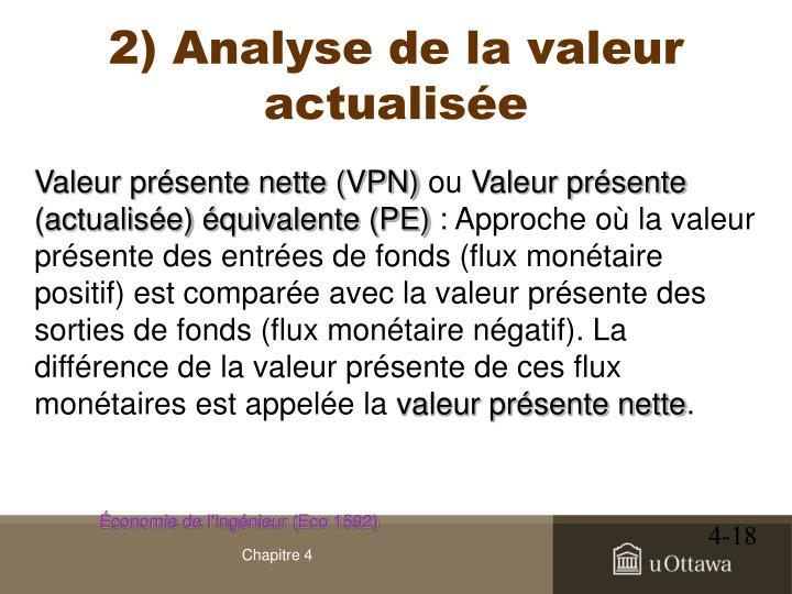 2) Analyse de la valeur actualisée