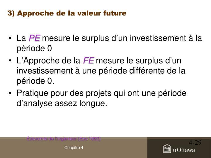 3) Approche de la valeur future