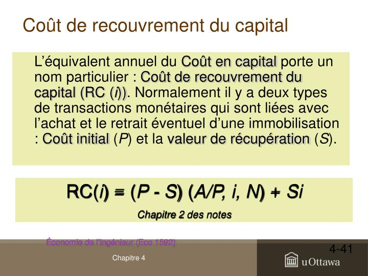 Coût de recouvrement du capital