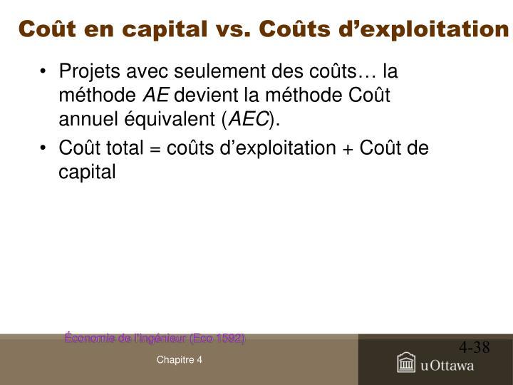 Coût en capital vs. Coûts d'exploitation