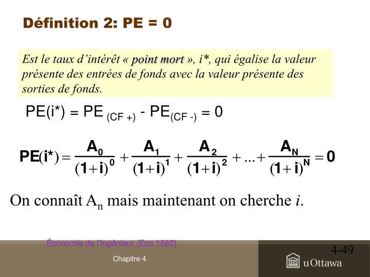 Définition 2: PE = 0