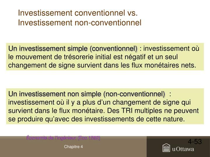 Investissement conventionnel vs. Investissement non-conventionnel