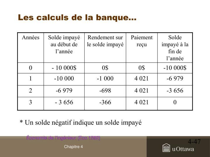 Les calculs de la banque…
