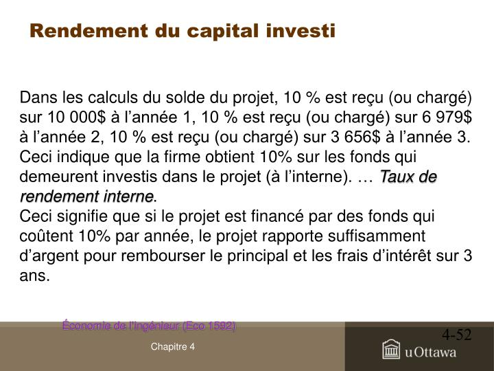 Rendement du capital investi