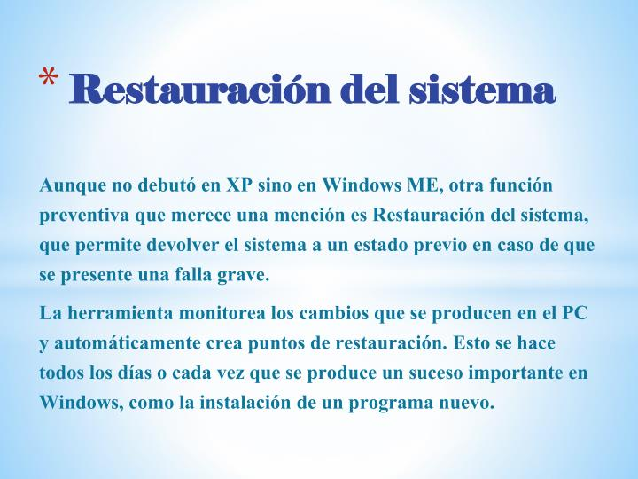 Restauración del sistema