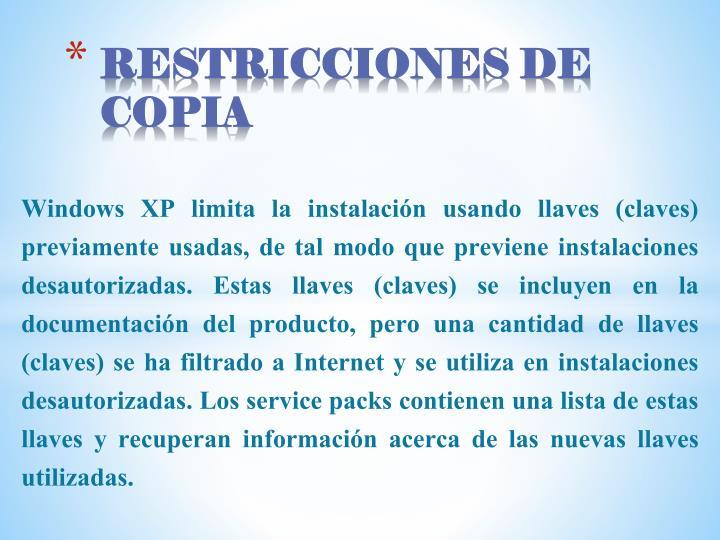 RESTRICCIONES DE COPIA