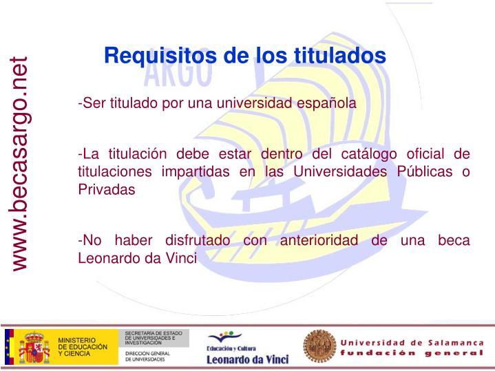 Requisitos de los titulados