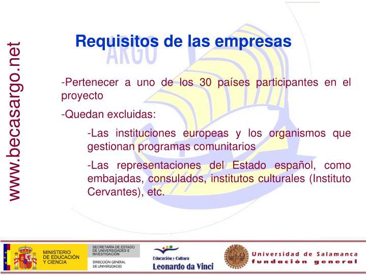 Requisitos de las empresas