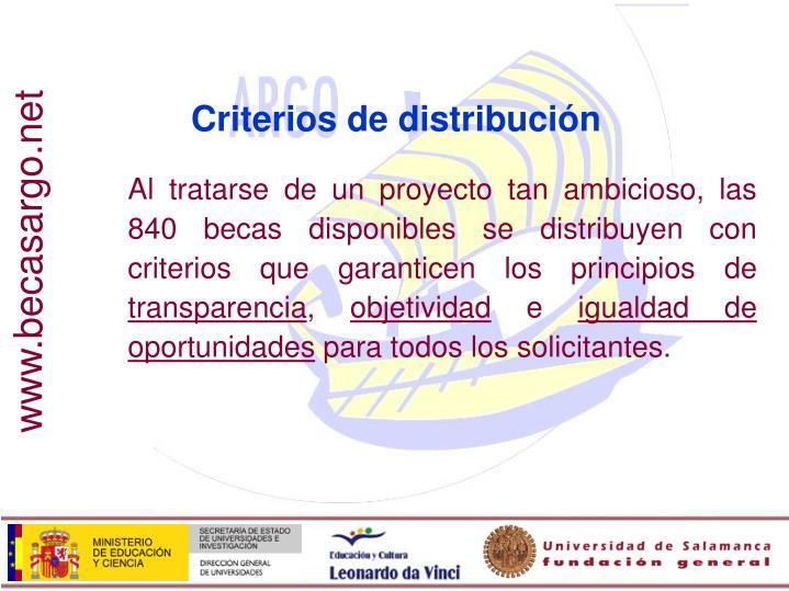 Criterios de distribución