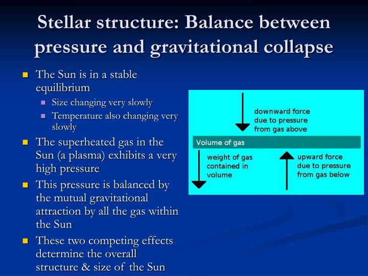 Stellar structure: Balance between pressure and gravitational collapse