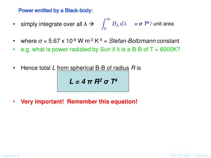 Power emitted by a Black-body: