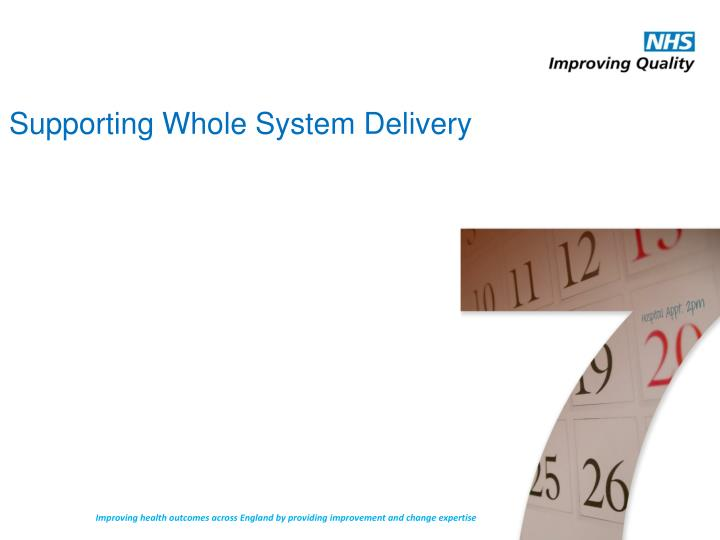 Supporting Whole System Delivery