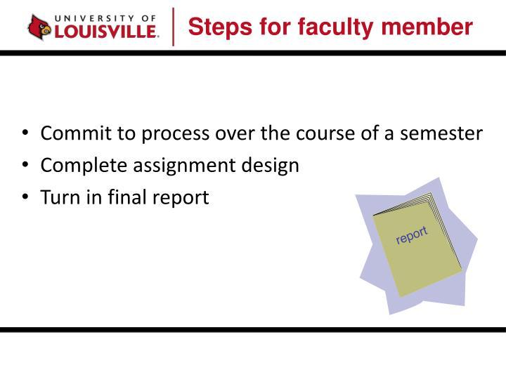 Steps for faculty member