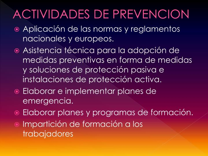 ACTIVIDADES DE PREVENCION