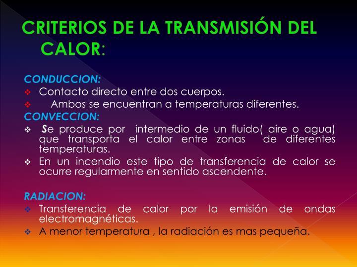 CRITERIOS DE LA TRANSMISIÓN DEL CALOR