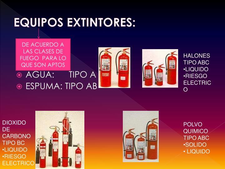 EQUIPOS EXTINTORES: