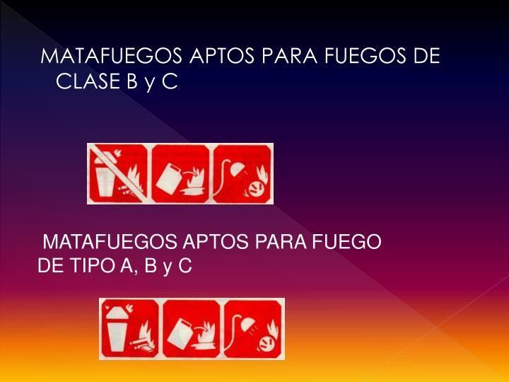 MATAFUEGOS APTOS PARA FUEGOS DE CLASE B y C