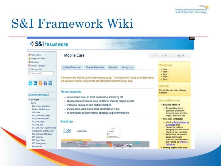 S&I Framework Wiki
