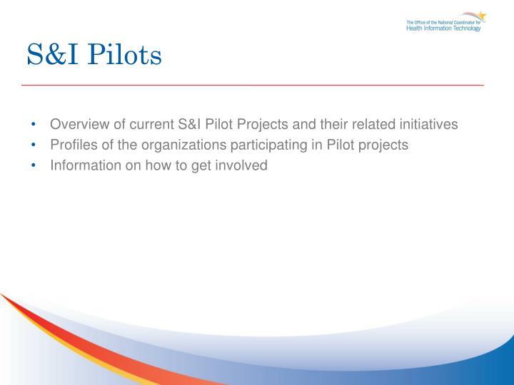 S&I Pilots