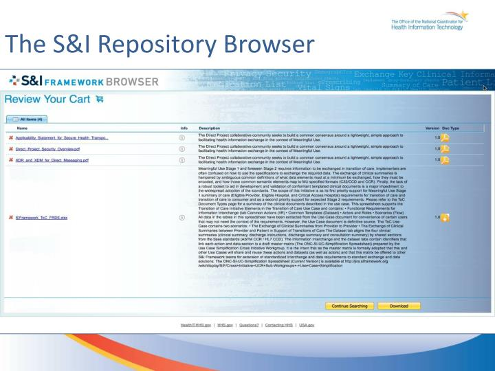 The S&I Repository Browser