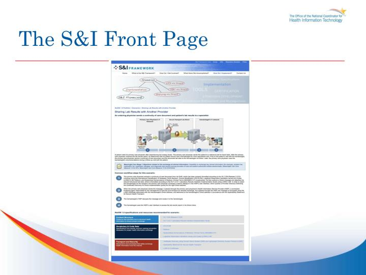The S&I Front Page