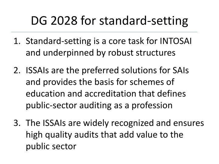 DG 2028 for standard-setting
