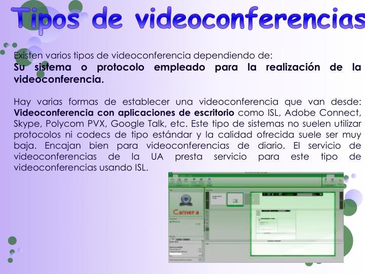 Tipos de videoconferencias