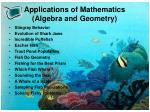 applications of mathematics algebra and geometry