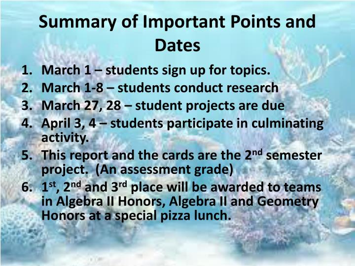 Summary of Important Points and Dates