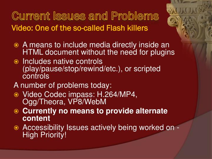 Current Issues and Problems