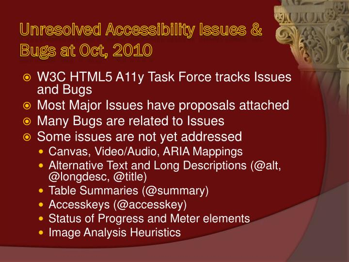Unresolved Accessibility Issues & Bugs at Oct, 2010