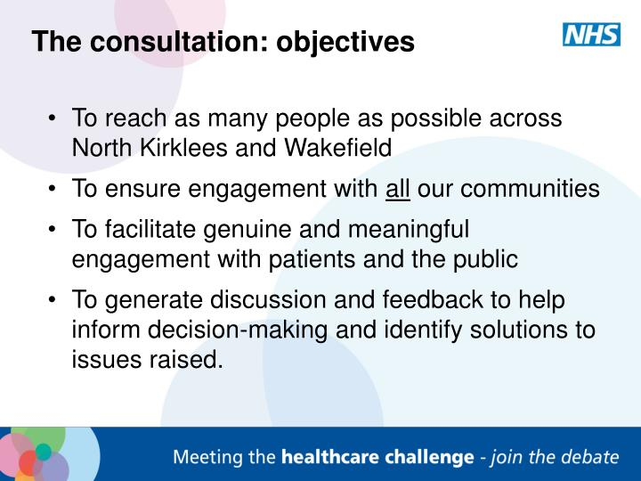 The consultation: objectives