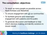 the consultation objectives