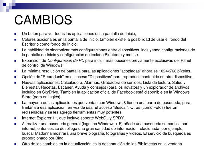 CAMBIOS