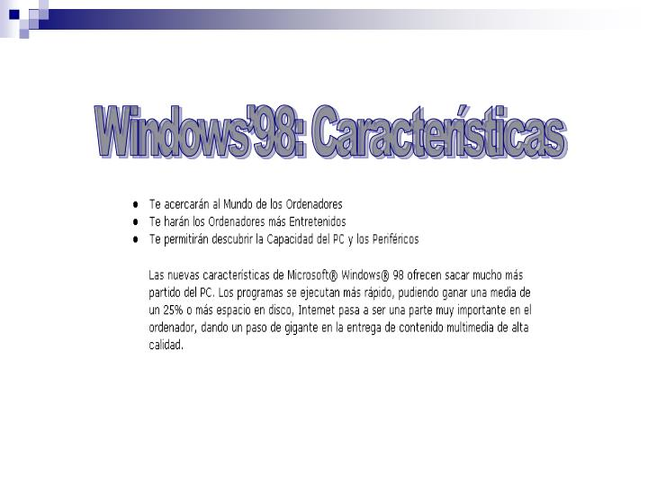 Windows'98: Características