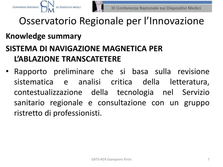 Osservatorio Regionale per l'Innovazione