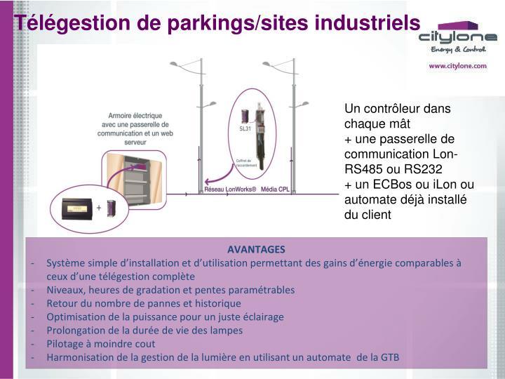 Télégestion de parkings/sites industriels