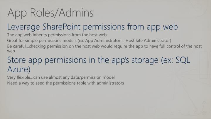 App Roles/Admins