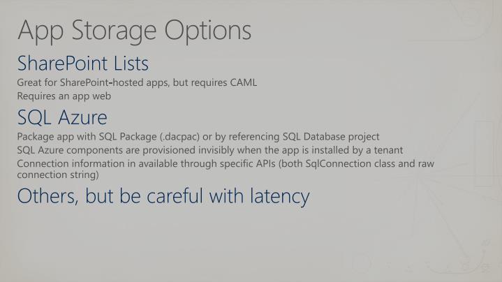 App Storage Options
