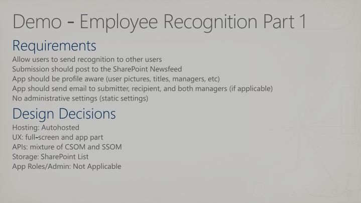 Demo - Employee Recognition Part 1