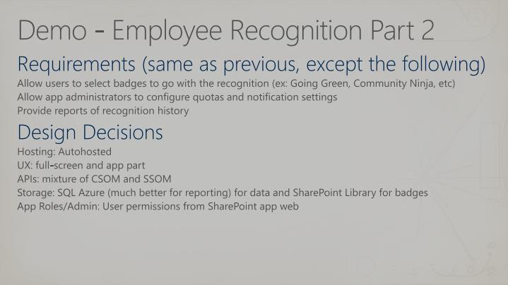 Demo - Employee Recognition Part